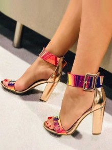 Golden Piscine Mouth Chunky Sequin Fashion High-Heeled Sandals
