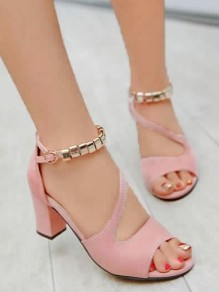 Pink Piscine Mouth Chunky Chain Fashion High-Heeled Sandals