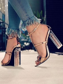 Golden Round Toe Chunky Cut Out Sequin Fashion High-Heeled Sandals