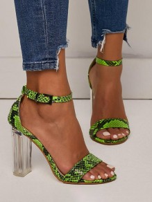 Green Piscine Mouth Fashion High-Heeled Sandals