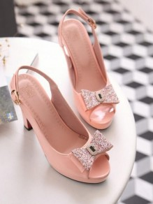 Pink Piscine Mouth Bow Rhinestone Cut Out Sweet High-Heeled Sandals