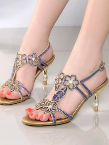 Sapphire Blue Round Toe Stiletto Rhinestone Fashion High-Heeled Sandals
