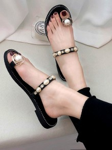 Black Round Toe Pearl Fashion Casual Flat Sandals