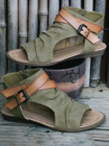 Khaki Piscine Mouth Flat Cut Out Fashion Sandals