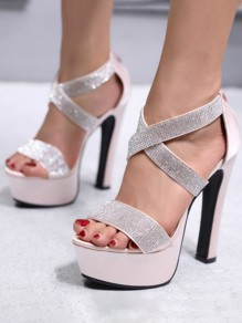 Pink Round Toe Chunky Rhinestone Fashion High-Heeled Sandals