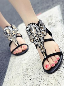 Black Round Toe Flat Rhinestone Cut Out Fashion Sandals