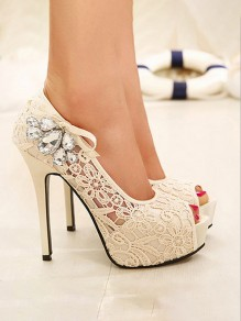 Apricot Piscine Mouth Stiletto Rhinestone Bow Floral Print Fashion High-Heeled Sandals
