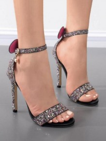 Black Round Toe Stiletto Bow Sequin Pearl Fashion High-Heeled Sandals