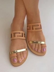 Yellow Round Toe Chunky Fashion Casual Flat Sandals