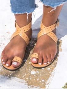 Yellow Round Toe Fashion Casual Flat Sandals