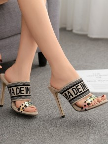Apricot Round Toe Stiletto Fashion Casual High-Heeled Sandals