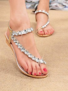 Golden Round Toe Flat Rhinestone Fashion Sandals