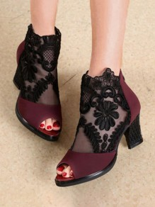 Dark Red Piscine Mouth Chunky Floral Print Fashion High-Heeled Sandals