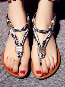 Black Round Toe Sequin Fashion Casual Flat Sandals