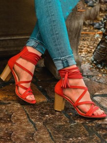 Red Round Toe Chunky Fashion Casual High-Heeled Sandals