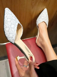 Silver Point Toe Stiletto Sequin Fashion Casual High-Heeled Sandals