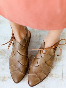 Brown Round Toe Cut Out Fashion Casual Flat Sandals