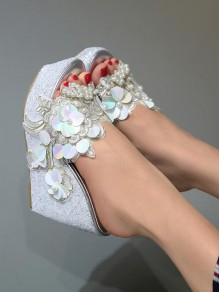 Silver Round Toe Wedges Sequin Pearl Fashion Casual Sandals