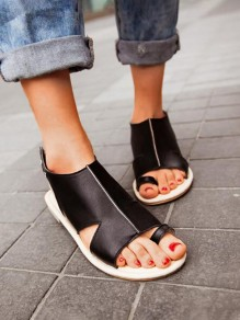 Black Round Toe Buckle Fashion Casual Flat Sandals