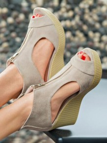 Apricot Round Toe Wedges Piscine Mouth Zipper Fashion High-Heeled Sandals