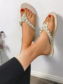 White Round Toe Pearl Fashion Casual Flat Sandals