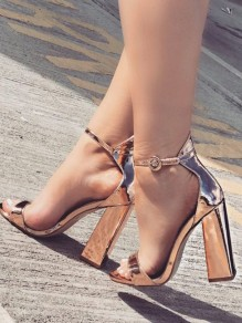 Golden Round Toe Chunky Sequin Fashion Casual High-Heeled Sandals