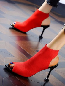 Red Point Toe Stiletto Piscine Mouth Fashion High-Heeled Sandals