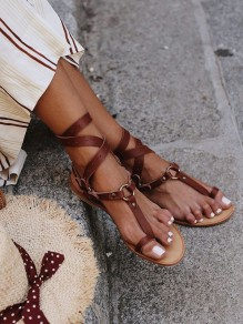 Brown Round Toe Sequin Lace-up Fashion Flat Sandals
