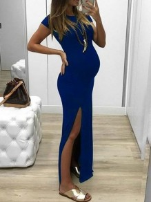 Blue Bodycon Thigh High Side Slits Round Neck Maternity For Babyshowes Maxi Dresses