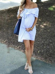 Blue Ruffle Off Shoulder Short Sleeve Fashion Maternity Mini Dress