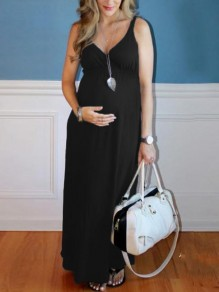 Black Draped Spaghetti Strap V-neck Maternity For Babyshowes Maxi Dress