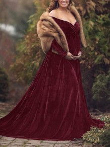 Burgundy Irregular High-low Off Shoulder Gender Reveal Babyshower Mermaid Pleuche Maternity Dress