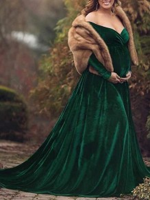 Green Irregular High-low Off Shoulder Gender Reveal Babyshower Mermaid Pleuche Maternity Dress