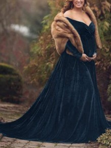 Navy Blue Irregular High-low Off Shoulder Gender Reveal Babyshower Mermaid Pleuche Maternity Dress