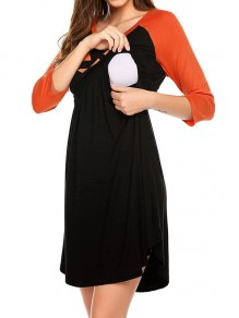 Orange Cut Out Round Neck Long Sleeve Maternity Dress
