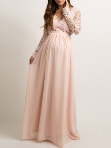 Pink Patchwork Lace V-neck For Babyshower Elegant Pregnant Maternity Maxi Dress