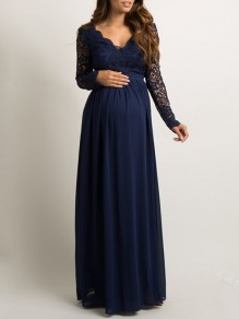 Dark Blue Patchwork Lace V-neck For Babyshower Elegant Pregnant Maternity Maxi Dress