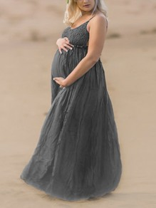 Dark Grey Patchwork Lace Pleated Backless Spaghetti Strap V-neck Maternity Maxi Dress