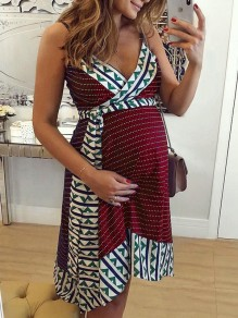 Red Floral Irregular Comfy Fashion Maternity Dress