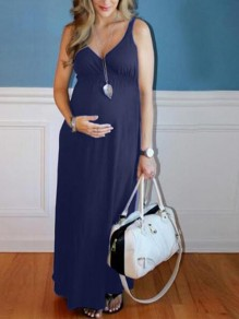 Navy Blue Draped Deep V-neck Sleeveless High Waisted Babyshower Maternity Dress