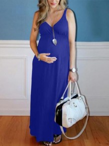 Royal Blue Draped Deep V-neck Sleeveless High Waisted Babyshower Maternity Dress