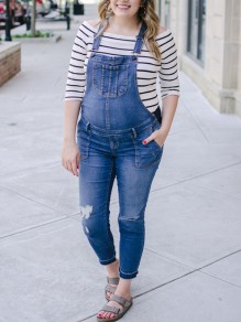 Sapphire Blue Pockets Cut Out Long Jeans Overall Pants Maternity Jumpsuit