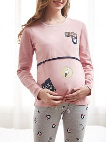 Pink Animal Pattern Maternity and Lactant Women Two Piece Fashion Long Jumpsuit