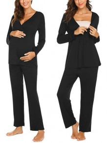 Black Patchwork Irregular Maternity and Lactant Women Two Piece Fashion Long Jumpsuit
