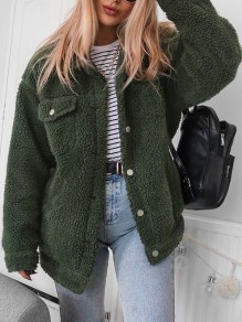 Green Patchwork Single Breasted Pockets Others Long Sleeve Fashion Outerwears