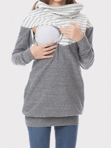 Grey Striped Pockets Hooded Long Sleeve Multi-Functional Maternity Sweatshirt