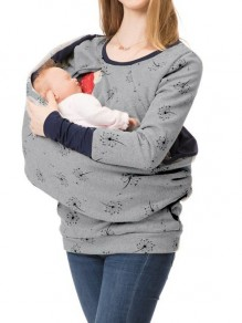 Light Grey Floral Pockets Hooded Long Sleeve Fashion Maternity Sweatshirt