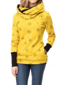 Yellow Floral Pocket Long Sleeve Fashion Pullover Maternity Sweatshirt
