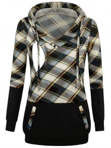 Blue Plaid Pocket Drawstring Hooded Long Sleeve Pullover Maternity Sweatshirt