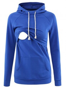 Blue Pocket Drawstring Hooded Long Sleeve Pullover Maternity Sweatshirt